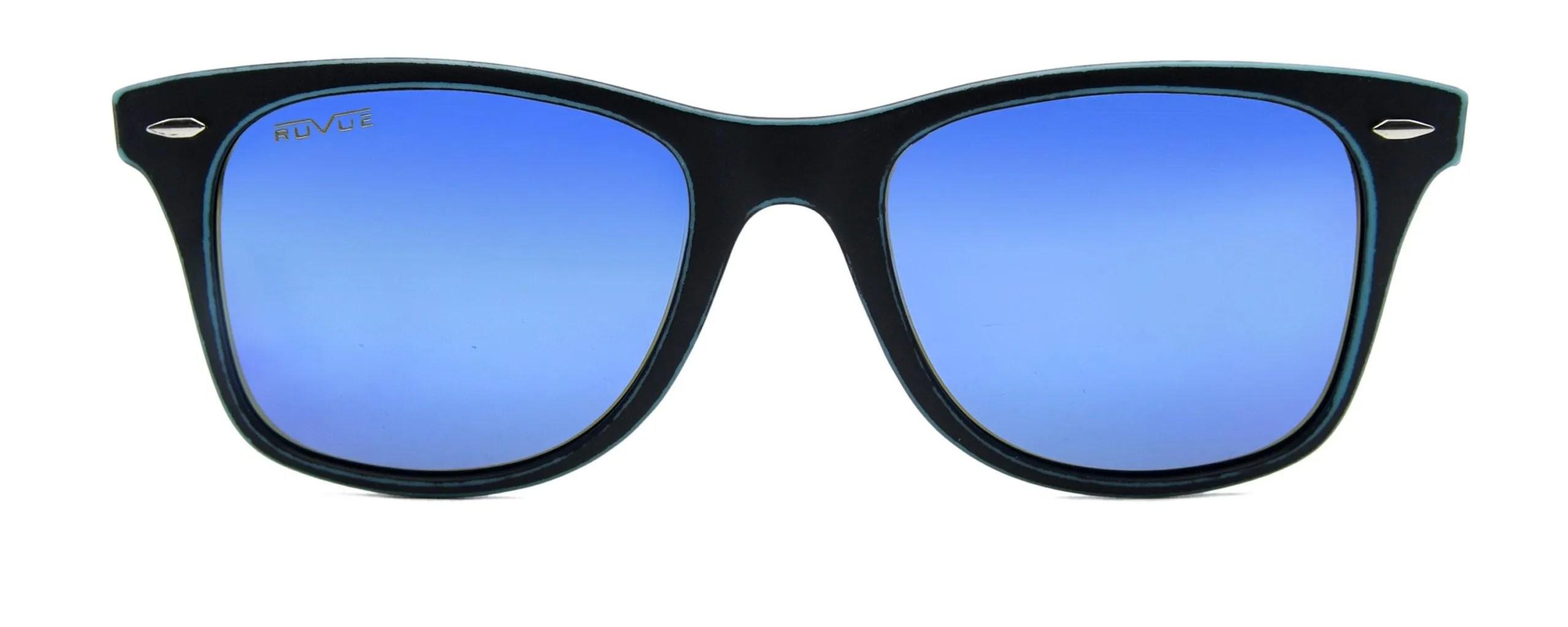 Jude - Matte Black - Blue Polarized Mirror Lenses - Front