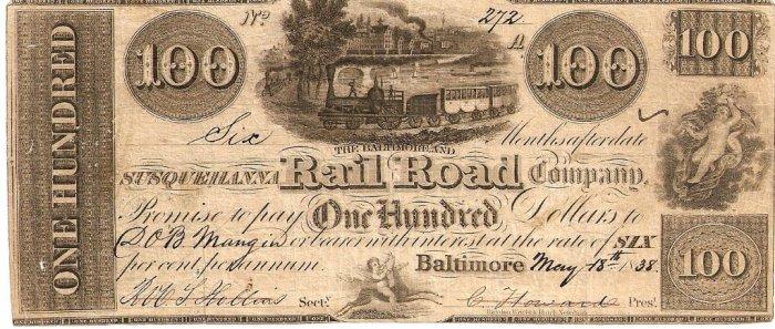 bond for construction of Baltimore & Susquehanna RR