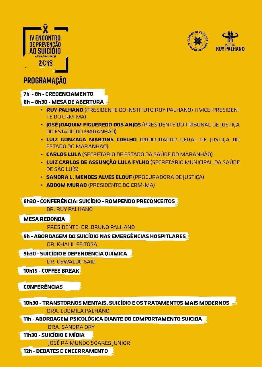Programação do Evento do Setembro Amarelo