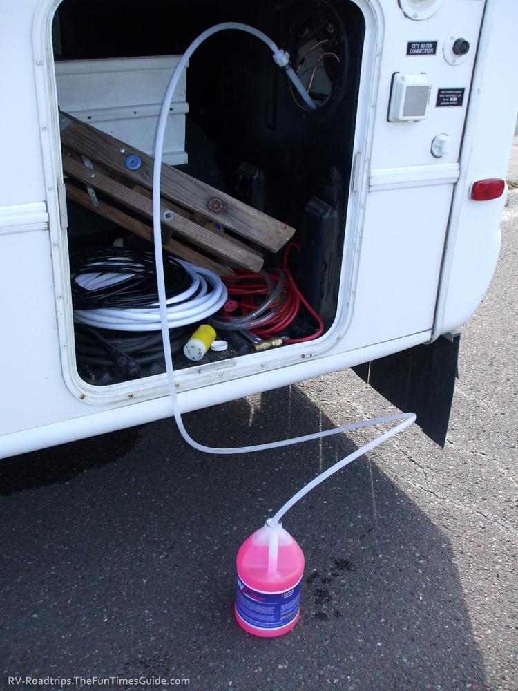 how to winterize RV blow out hose antifreeze