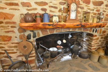 Fireplace inside the pioneer cottage