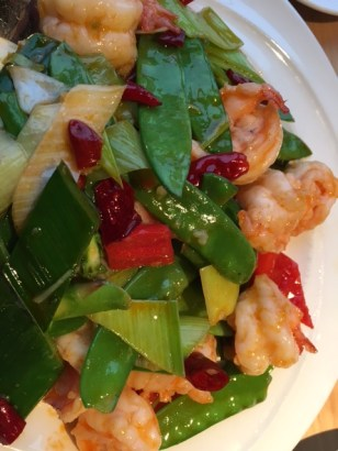 Shrimp and pea pods entree