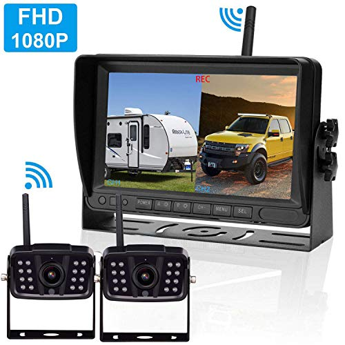 """LeeKooLuu F14 Wireless Digital Backup 4 Cameras 7/"""" DVR Quad Split Monitor for RVs Trucks Trailers Bus 1080P High-Speed Observation System Rear View Side View Cameras with Grid Lines DIY Setting"""
