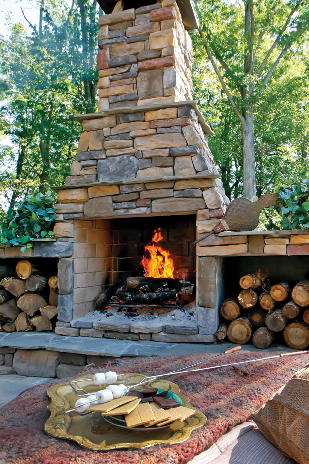 Warm Up to Outdoor Living: Fireplaces and Heaters Can Make ... on Simple Outdoor Brick Fireplace id=89400