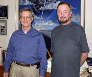 Hal Puthoff and Ingo Swann in Hal's Austin Texas office in 2002 (Courtesy, Robert Knight)