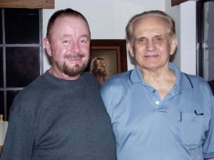 Ingo Swann and Cleve Backster in Hal Puthoff's home in 2002