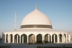 Mosque atop King Fahd Airport parking garage that was the model for the Christmas card ink drawing