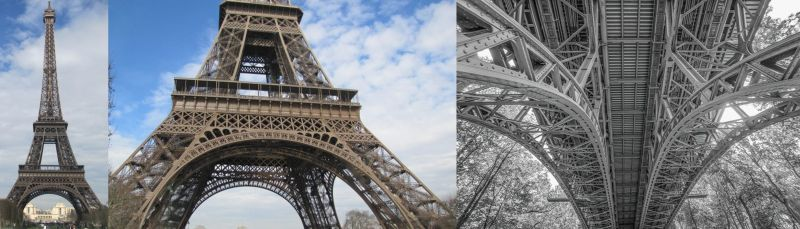"A hypothetical example of analytical overlay (AOL) in remote viewing. Two views of the assigned target, the Eiffel Tower, compared to the AOL of ""steel bridge"" that a viewer's left brain might imagine."