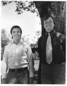 """Dr. Harold """"Hal"""" Puthoff (L) with Ingo Swann in the early 1970s not long after the quark detector experiment"""