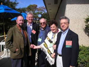 John McCaughan (center) with wife Virginia and Ingo Swann (L), James Spottiswoode, and Hal Puthoff (R) at the 2003 Remote Viewing Conference in Virginia Beach