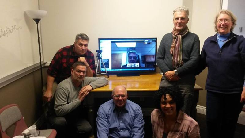 RVIS, Inc. CRV Basic Course 12/4/2017 gathered around Dr. Hal Puthoff (on Skype screen) after Dr. Puthoff's lecture on the beginnings of and science behind remote viewing