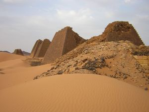 Meroe Sudan pyramidal structures showing weathering