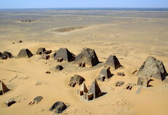 Meroe Sudan pyramidal structures (aerial view)