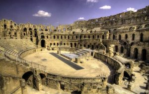 Interior view of the El Jem Amphitheatre ruins