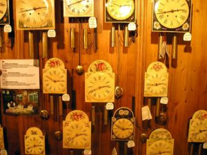 Clocks on display inside the Haus der 1,000 Uhren