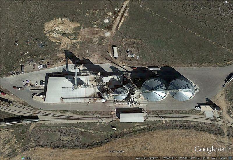 Grain storage facility near Nephi, Utah from above