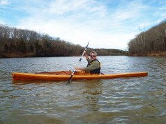 Brad Saum kayaking Green River Lake in Kentucky.