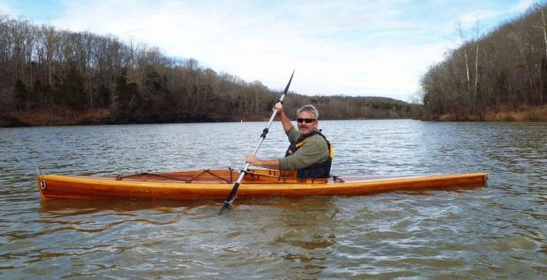 Brad Saum kayaking Green River Lake in Kentucky.