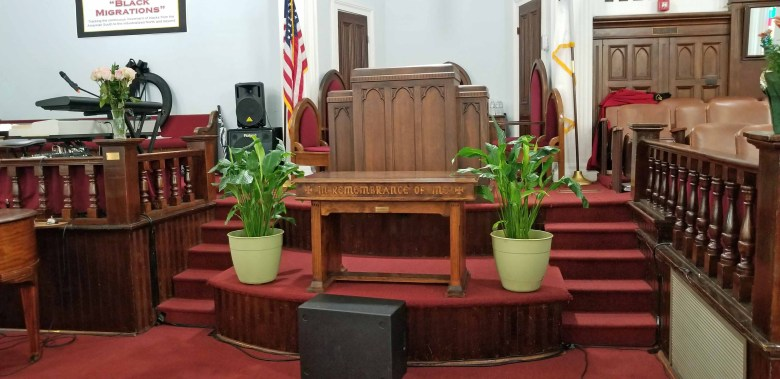The pulpit at Dexter Avenue Baptist Church where Dr. Martin Luther King, Jr. preached for six years.
