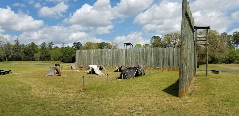 A fifteen-foot high stockade made of local timber surrounded the 26 acres confining the prisoners.