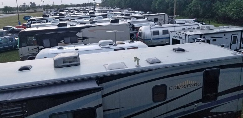 RV at Lee County Civic Center and Fairgrounds in Fort Myers, Florida.