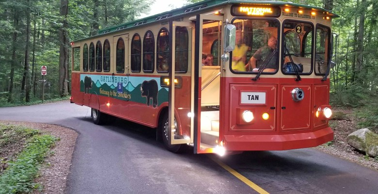 Trolley transports visitors to the synchronous fireflies