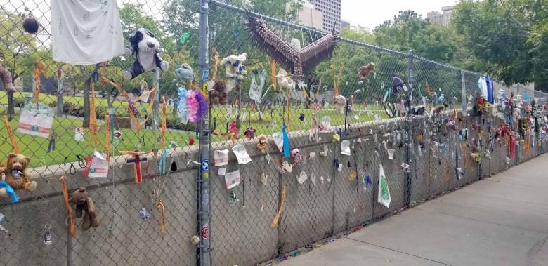 Fence memorial near The Survivor Tree