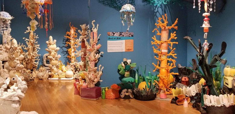 """""""Reef at Risk"""" created by sculptures made from trash plastic recovered along the shoreline."""