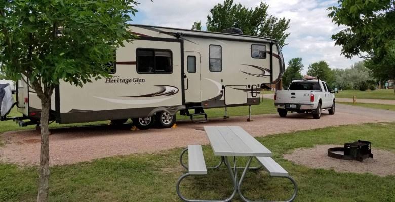 Heritage Glen RV at campsite at South Dakota State Park