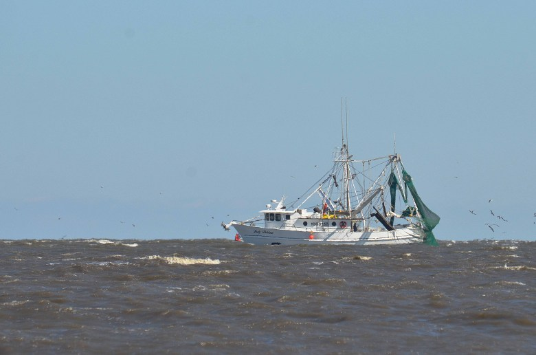 Fishing boats, and many other types of ships pass by Grand Isle Louisiana