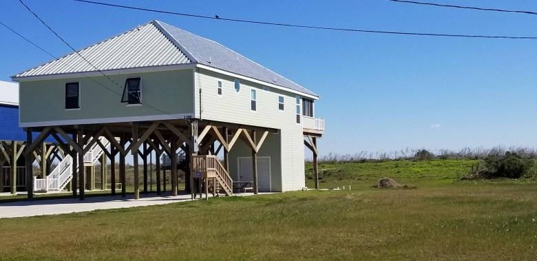 houses built elevated from storm surge along Louisiana coast
