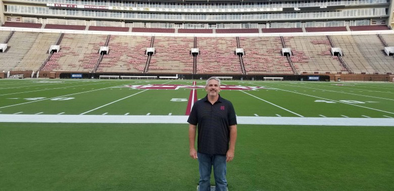 On the field at Mississippi State University's Davis Wade Stadium.