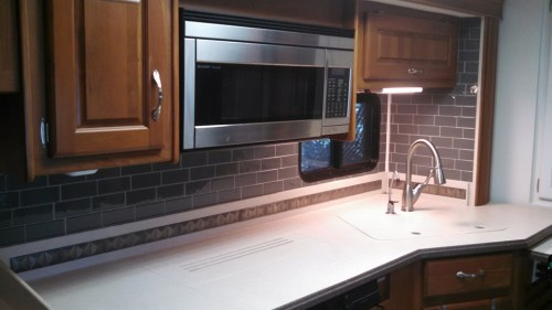Dark gray peel-and-stick subway tiles