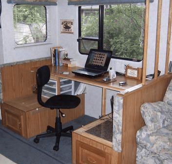 RV dining booth converted to work space
