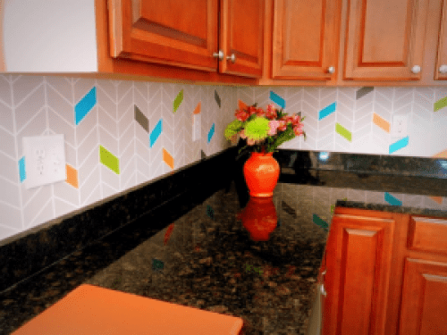 Colorful painted chevron backsplash