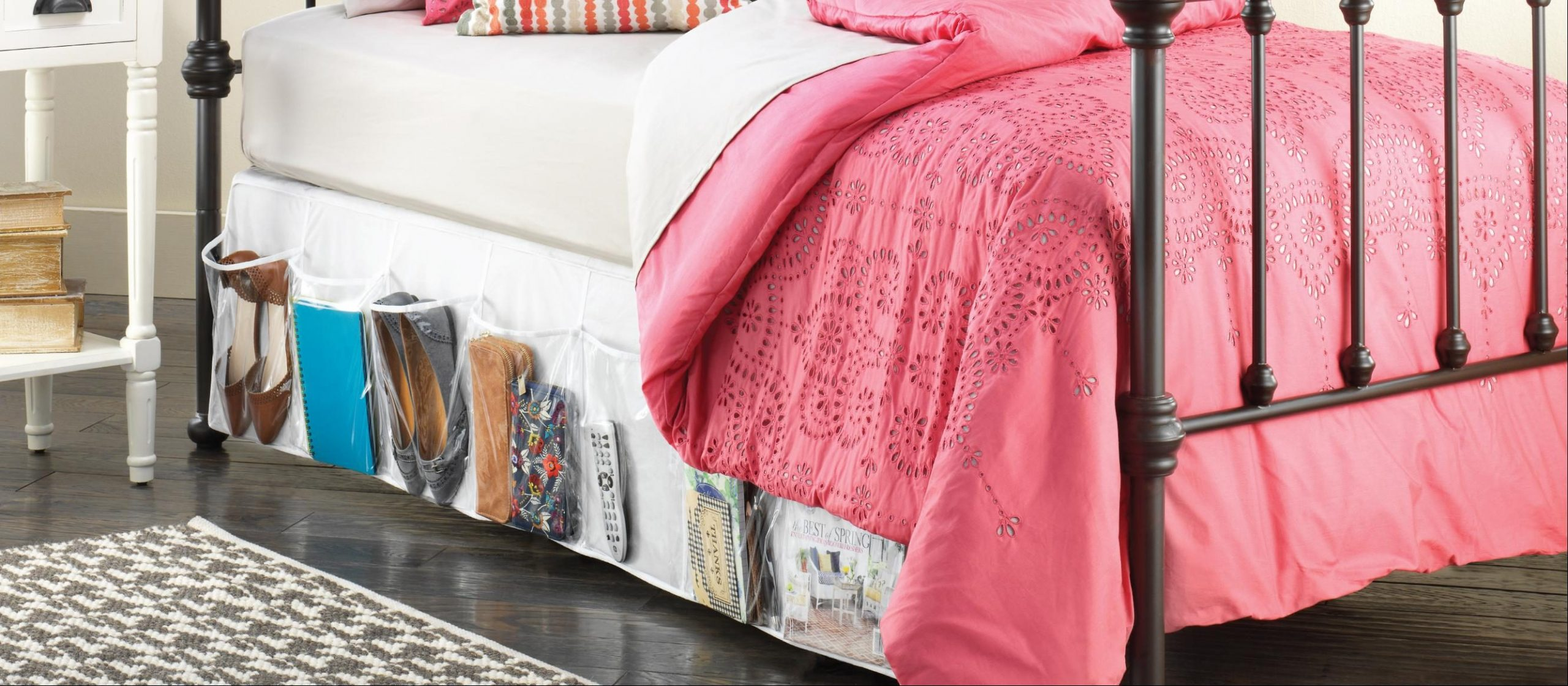 RV shoe storage idea: Whitmor 16-Pocket Bedskirt Storage Organizer, Clear, One Size Fits All Beds