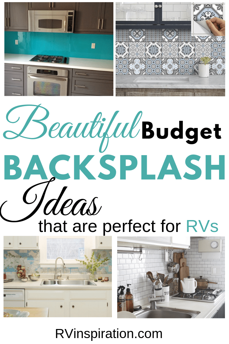Want a new backsplash for your RV? Here are some affordable DIY ideas. #DIYbacksplash #RVrenovation #RVmakeover #RVremodel