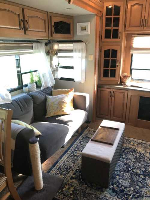 Living room of fifth wheel RV camper