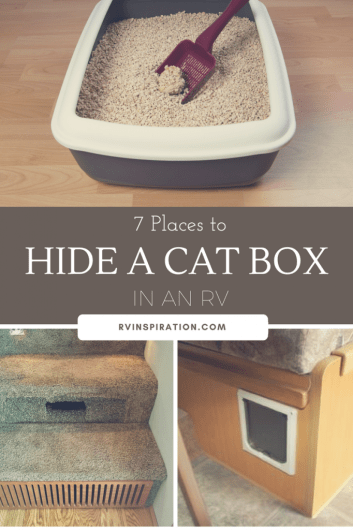 Litter box storage ideas for RVs, motorhomes, campers, travel trailers, or small apartments - Hide the cat box!