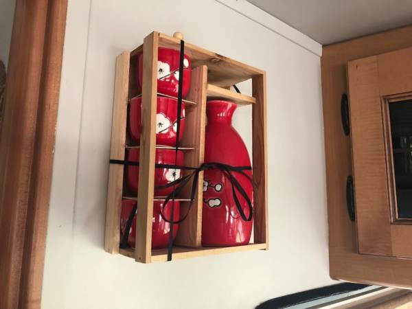 Heavy decor items mounted on #RV wall using acrylic mounting tape