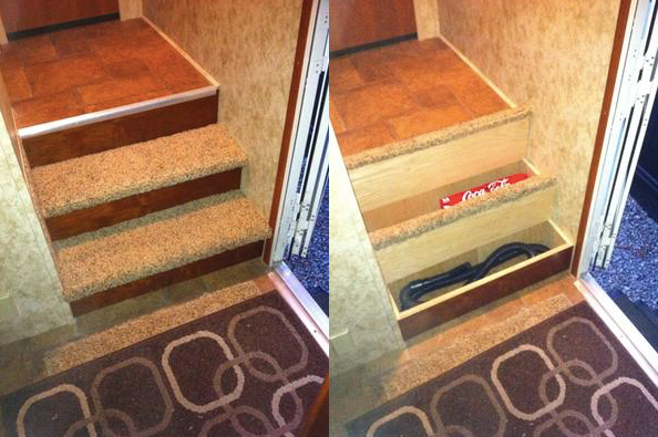 Hidden space in RV: storage for tools, vacuum, shoes, etc. inside stairs