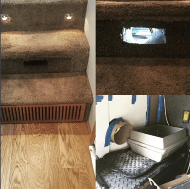 Cat tunnel to litter box in fifth wheel RV | storage idea for motorhomes, campers, travel trailers, etc. | RVinspiration.com