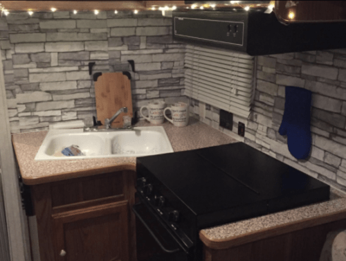 RV owner's stone wallpaper backsplash