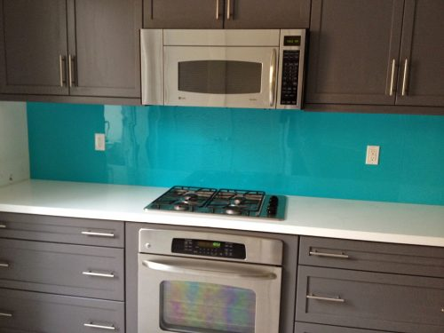 colored plexiglass backsplash