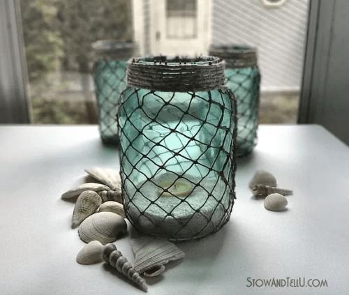 fish net tea light jars