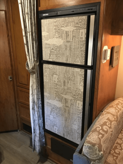 peel-and-stick wallpaper fridge