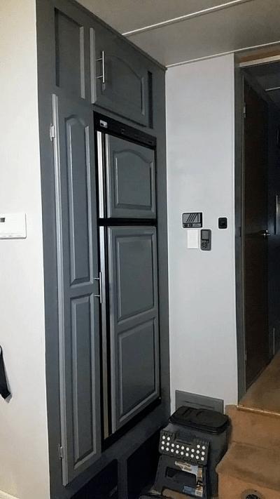 gray painted refrigerator