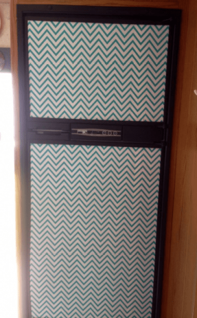 Chevron contact paper refrigerator
