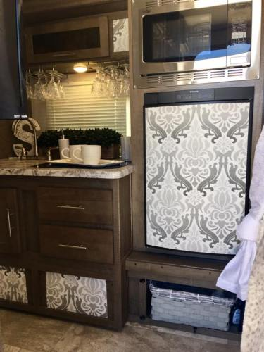 Contact paper used to give an RV kitchen a makeover
