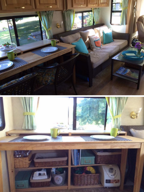 Removing an RV dinette booth to add storage | RVs, campers, travel trailers, and motorhomes without the dinette booth
